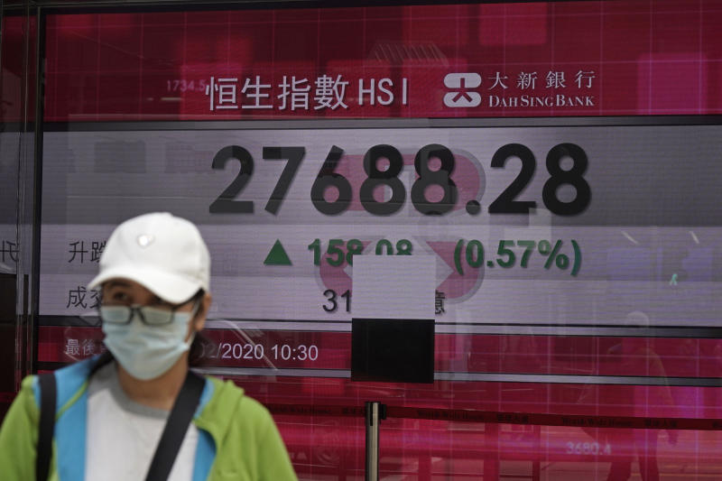 A woman walks past an electronic board showing Hong Kong share index outside a local bank in Hong Kong, Wednesday, Feb. 19, 2020. Asian shares are mostly rising despite continuing fears about an outbreak of a new virus that began in China, which sent regional indexes mostly lower recently. (AP Photo/Kin Cheung)