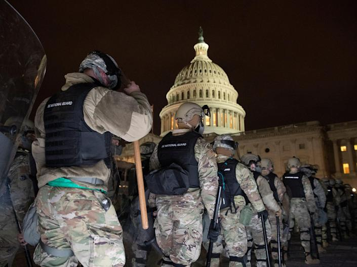 <p>DC National Guard arrive at the East Front of the US Capitol after pro-Trump protesters stormed the grounds leading to chaos, in Washington, DC, USA, 6 January 2021</p> (EPA)