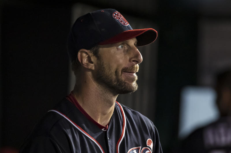 As bad as things are for the Nats, they're saying they won't trade Max Scherzer yet. (Photo by Scott Taetsch/Getty Images)