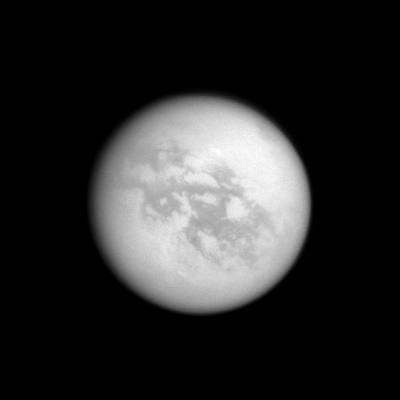 Kraken Mare, a large lake filled with liquid hydrocarbons, in this Titan image from the Cassini spacecraft. Cyclones could form above seas such as this if they are mostly made of methane, according to new research. Cyclones could form above th