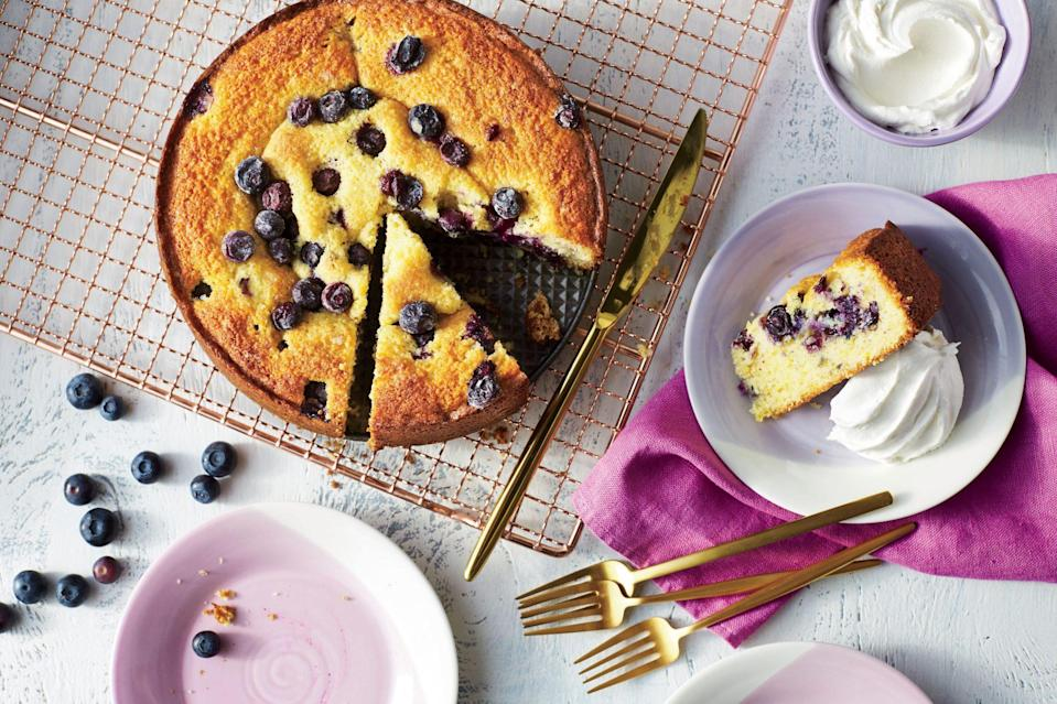 """<p><b>Recipe: <a href=""""https://www.southernliving.com/recipes/blueberry-cornmeal-cake-recipe"""" rel=""""nofollow noopener"""" target=""""_blank"""" data-ylk=""""slk:Blueberry-Cornmeal Cake"""" class=""""link rapid-noclick-resp"""">Blueberry-Cornmeal Cake</a> </b></p> <p>Use blueberries fresh from the farmers' market for this timeless and simple cornmeal cake.</p>"""