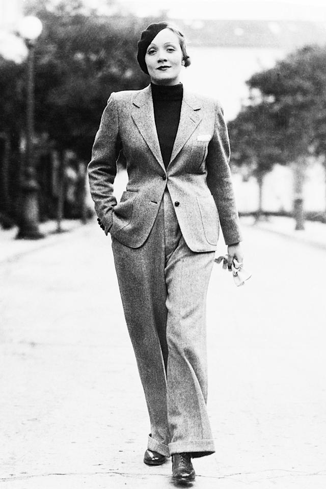 "<p>Known for her androgynous style, Dietrich walked the streets of Hollywood in her preferred pants and a jacket. <a rel=""nofollow"" href=""https://www.theguardian.com/news/2012/mar/05/archive-marlene-dietrich-wardobe-secrets?mbid=synd_yahoostyle"">She discussed</a> her fashion sense with the <em>Observer</em> in 1960, ""If I dressed for myself I wouldn't bother at all. Clothes bore me. I'd wear jeans. I adore jeans. I get them in a public store—men's, of course; I can't wear women's trousers. But I dress for the profession. I get my clothes in Hollywood and Paris, and if I can't come to Paris, I wait.""</p>"
