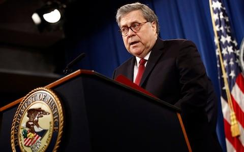 William Barr speaks about the release of a redacted version of special counsel Robert Mueller's report  - Credit: AP