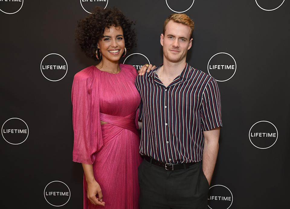 BEVERLY HILLS, CA - MAY 03:  Actress Parisa Fitz-Henley (L) and actor Murray Fraser arrive at Lifetime's afternoon tea in celebration of the premiere of the upcoming movie,