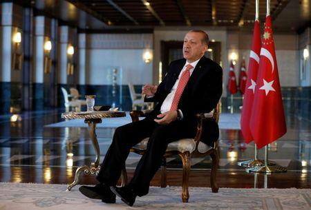 Turkish President Tayyip Erdogan attends an interview with Reuters at the Presidential Palace in Ankara