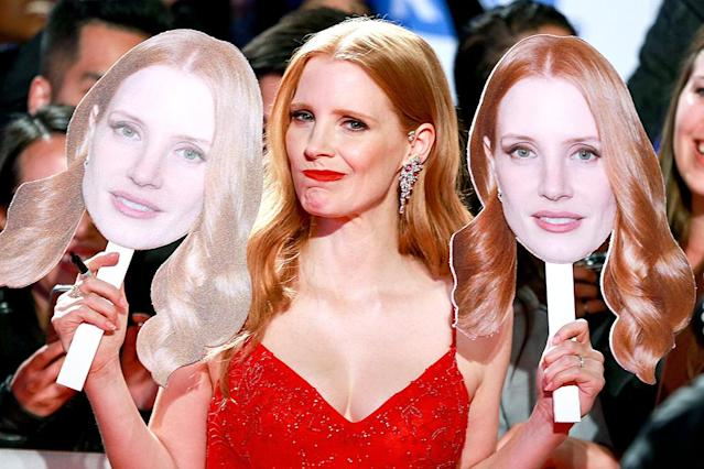"""<p>The actress posed with some familiar faces at the Toronto International Film Festival premiere of her latest movie, <em>Woman Walks Ahead</em>. Later, she joked on Instagram, """"Ugh that Chastain chick is everywhere."""" (Photo: Rich Fury/Getty Images) </p>"""