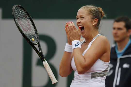<p>Irina-Camelia Begu of Romania v. Shelby Rogers of the U.S. at the French Open in Paris. Shelby Rogers celebrates. <em>(Reuters/Pascal Rossignol)</em> </p>