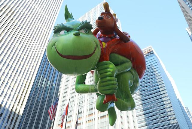 <p>The Grinch balloon will attempt to steal some holiday cheer in his first-ever appearance in the 91st Macy's Thanksgiving Day Parade in New York, Nov. 23, 2017. (Photo: Gordon Donovan/Yahoo News) </p>