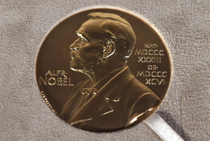 FILE - A Tuesday, Dec. 8, 2020 file photo of a Nobel medal displayed during a ceremony in New York. The Nobel Prize in Literature is due to be awarded on Thursday Oct. 7, 2021. (Angela Weiss/Pool Photo via AP, File)