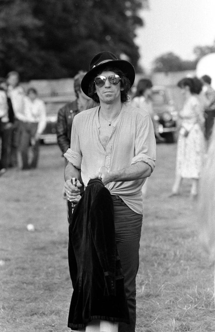 <p>Keith Richards at Knebworth Pop Festival for a special appearance with fellow Rolling Stone Ronnie Wood, August 12, 1979.</p>