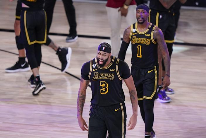 Los Angeles Lakers' Anthony Davis (3) celebrates after an NBA conference final playoff basketball game.