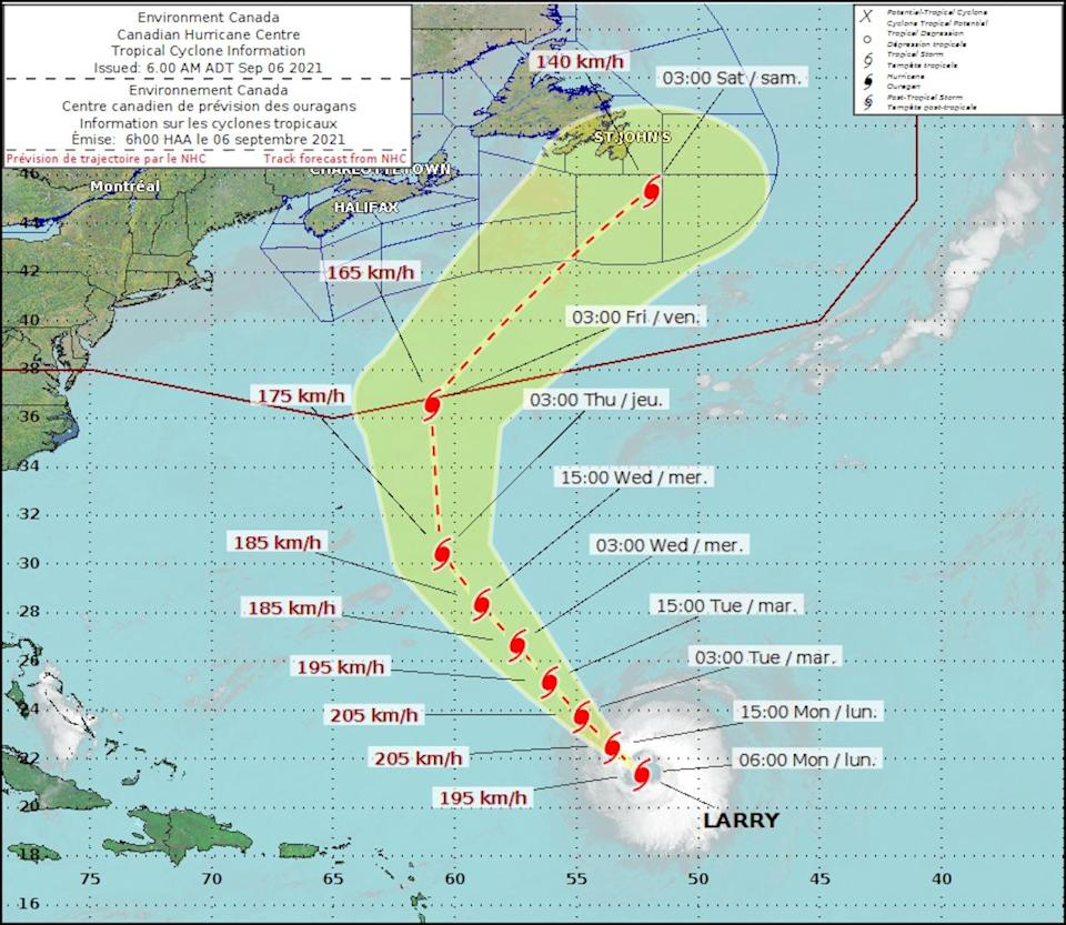 Canadian Hurricane Centre track/Larry