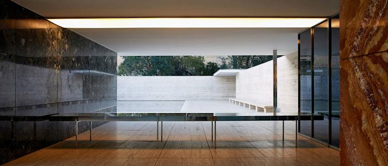 Inside the timeless Barcelona Pavilion, designed by Lilly Reich in collaboration with Ludwig Mies van der Rohe.