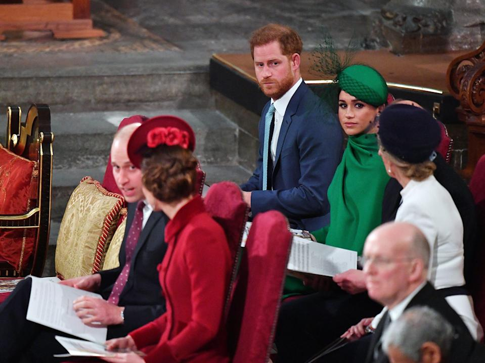 prince harry meghan william kate commonwealth service