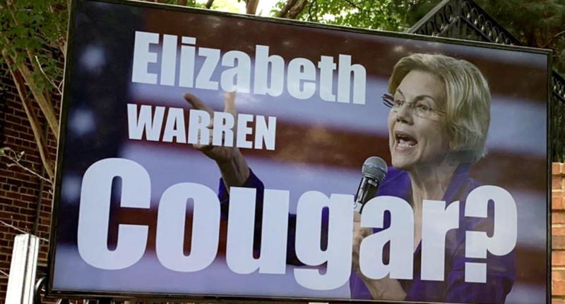 A sign questioning if Sen. Elizabeth Warren is a cougar in Arlington, Va.(Photo: Alexander Nazaryan/Yahoo News)