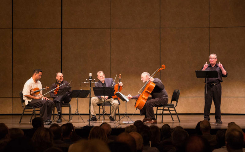 Robert Greenberg (right) and the Alexander String Quartet.