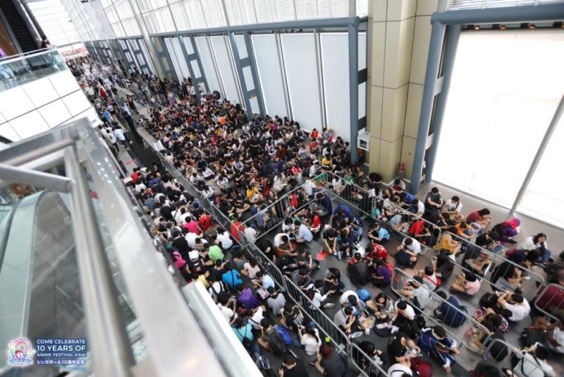 A long queue of attendees waiting to enter C3 AFA 2018. Photo: Anime Festival Asia/Facebook
