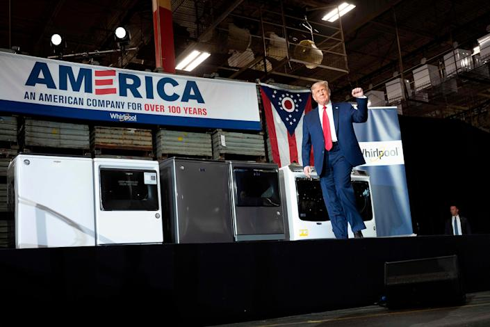 President Donald Trump at the Whirlpool Corporation Manufacturing Plant in Clyde, Ohio, on August 6, 2020.
