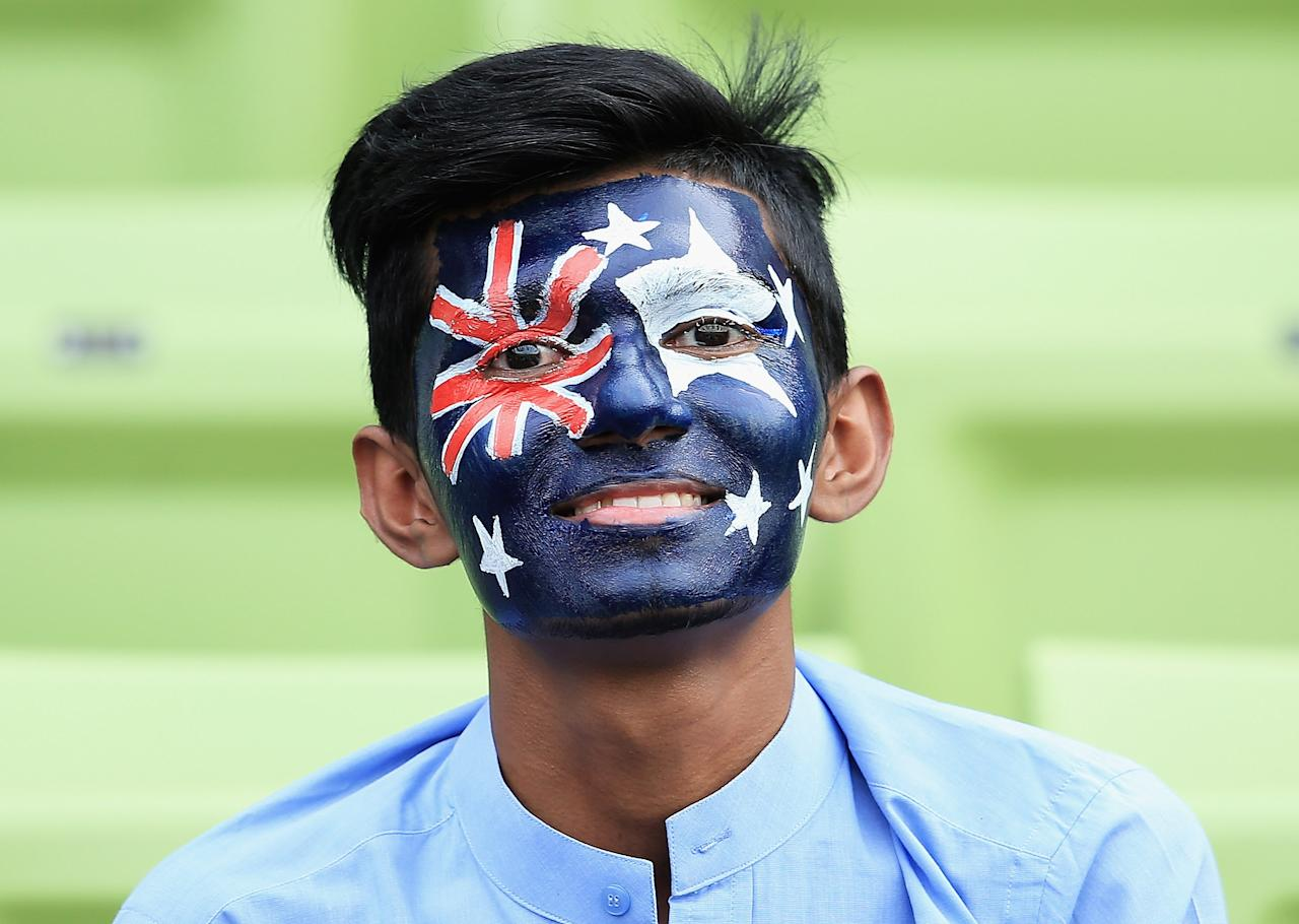 DHAKA, BANGLADESH - MARCH 23:  A local cricket fan shows his support to Australia during the ICC World Twenty20 Bangladesh 2014 match between Pakistan and Australia at Sher-e-Bangla Mirpur Stadium on March 23, 2014 in Dhaka, Bangladesh.  (Photo by Matthew Lewis-IDI/IDI via Getty Images)