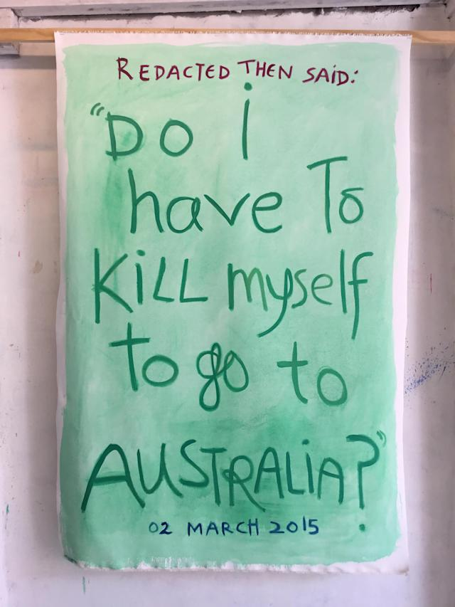 "The incident report attached to this work reads, in part: ""REDACTED saw them crying and told REDACTED he was worried about them. He then said, Do I have to kill myself to go to Australia? What place makes a REDACTED yr old try to kill themselves?"" (Angela Brennan/""All We Can't See"")"