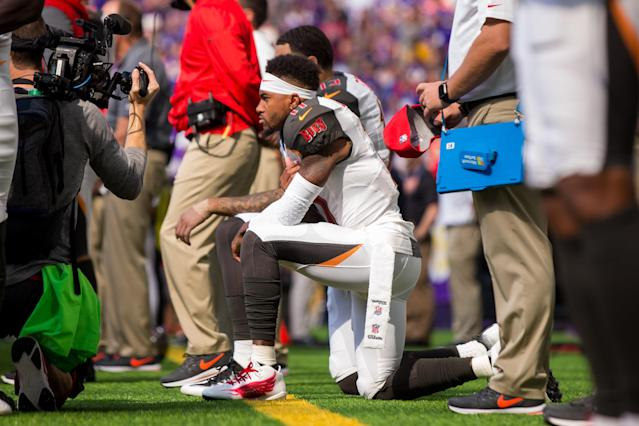 <p>Tampa Bay Buccaneers wide receiver DeSean Jackson (11) and wide receiver Mike Evans (13) kneel for the national anthem before the game against the Minnesota Vikings at U.S. Bank Stadium. Mandatory Credit: Brad Rempel-USA TODAY Sports </p>