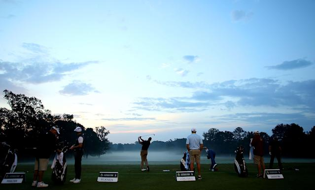 "<h1 class=""title"">Sanderson Farms Championship - Round One</h1> <div class=""caption""> JACKSON, MS - OCTOBER 27: Golfers practice on the range prior to the start of play during the First Round of the Sanderson Farms Championship at the Country Club of Jackson on October 27, 2016 in Jackson, Mississippi. (Photo by Marianna Massey/Getty Images) </div> <cite class=""credit"">Marianna Massey</cite>"