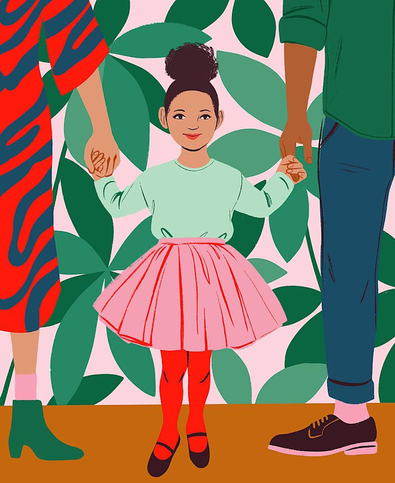 young girl holding parents hands illustration