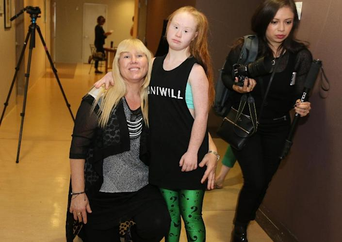Model Madeline Stuart poses with her mother Rosanne during rehearsals for the FTL MODA presentation organized by fashion producers FTL MODA with the Christopher and Dana Reeve Foundation and Models of Diversity, at New York Fashion Week (AFP Photo/Trevor Collens)
