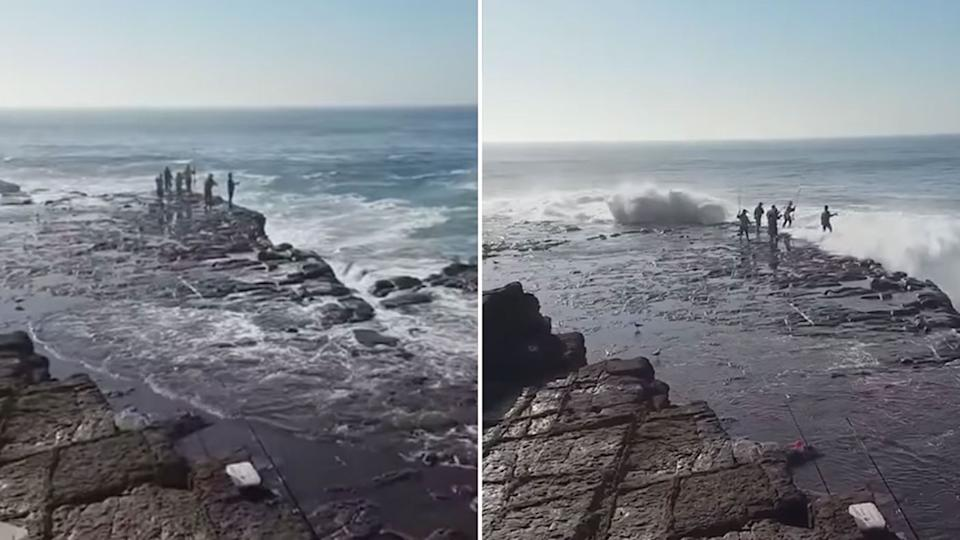 People were seen rock fishing at the same spot in Port Kembala on Sunday where three men died just days before. Source: Facebook