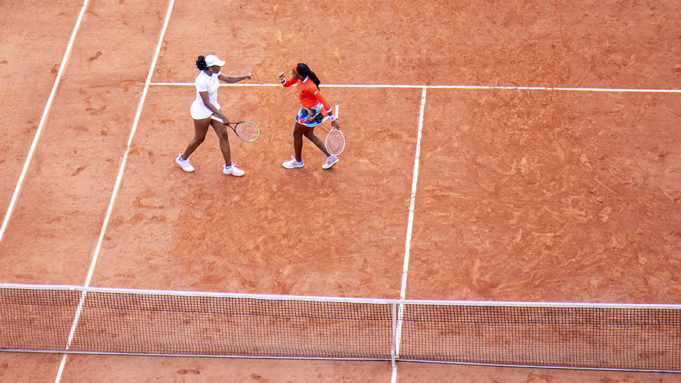Venus Williams and Coco Gauff, pictured here playing doubles at the French Open.