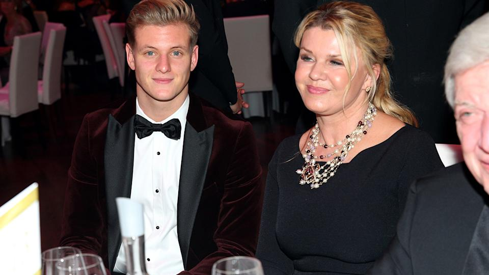 Michael Schumacxher's son Mick and wife Corinna, pictured here at the German Sports Media Ball in 2019.