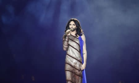 Eurovision Song Contest winner Conchita Wurst performs on stage during the opening ceremony of the 22nd Life Ball in Vienna