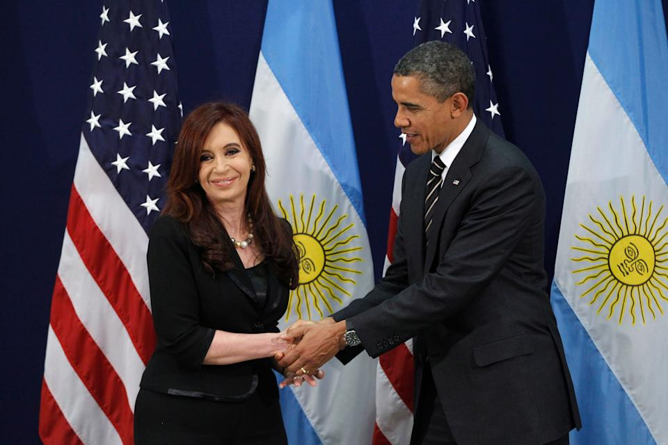 President Barack Obama meets with Argentina's President Cristina Fernandez at the G20 Summit in Cannes, France, Friday, Nov. 4, 2011.