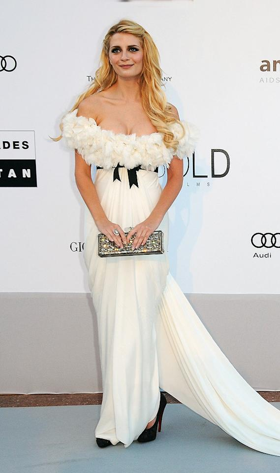 """Aside from her raccoon-like eye makeup, Mischa Barton looked rather lovely in her draped, feathery, off-the-shoulder Marchesa gown. Francois Durand/<a href=""""http://www.gettyimages.com/"""" target=""""new"""">GettyImages.com</a> - May 20, 2010"""