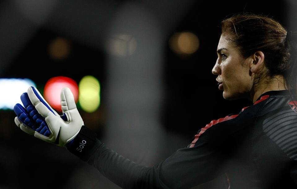 Goal Keeper Hope Solo #1 of the United States warms up against Canada during the final match of the Celebration Series on September 22, 2011 at Jeld-Wen Field in Portland, Oregon. (Photo by Jonathan Ferrey/Getty Images)