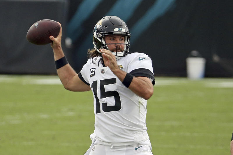 Jacksonville Jaguars quarterback Gardner Minshew (15) throws a pass against the Indianapolis Colts during the first half of an NFL football game, Sunday, Sept. 13, 2020, in Jacksonville, Fla. (AP Photo/Stephen B. Morton)