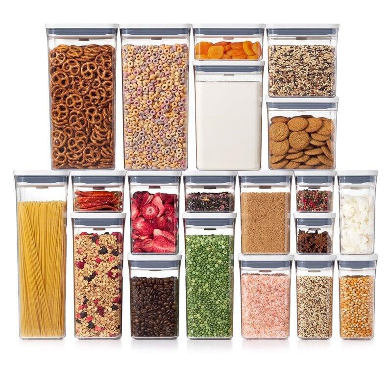 """<p>If you're ready to fully revamp your pantry, then no doubt this <a href=""""https://www.popsugar.com/buy/OXO-Good-Grips-20-Piece-POP-Container-Set-569940?p_name=OXO%20Good%20Grips%2020-Piece%20POP%20Container%20Set&retailer=amazon.com&pid=569940&price=160&evar1=casa%3Aus&evar9=47434945&evar98=https%3A%2F%2Fwww.popsugar.com%2Fhome%2Fphoto-gallery%2F47434945%2Fimage%2F47434991%2FOXO-Good-Grips-20-Piece-POP-Container-Set&list1=editors%20pick%2Corganization%2Ckitchens%2Cproduct%20reviews%2Chome%20organization%2Chome%20shopping&prop13=mobile&pdata=1"""" class=""""link rapid-noclick-resp"""" rel=""""nofollow noopener"""" target=""""_blank"""" data-ylk=""""slk:OXO Good Grips 20-Piece POP Container Set"""">OXO Good Grips 20-Piece POP Container Set</a> ($160) set is the one for you.</p>"""
