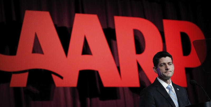 Republican vice presidential candidate, Rep. Paul Ryan, R-Wis., appears at the AARP convention in Friday, Sept. 21, 2012. (AP Photo/Bill Haber)