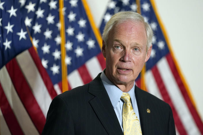 Sen. Ron Johnson, R-Wis., speaks to reporters before a Republican policy luncheon on Capitol Hill in Washington, Tuesday, Jan. 26, 2021. (AP Photo/Susan Walsh)