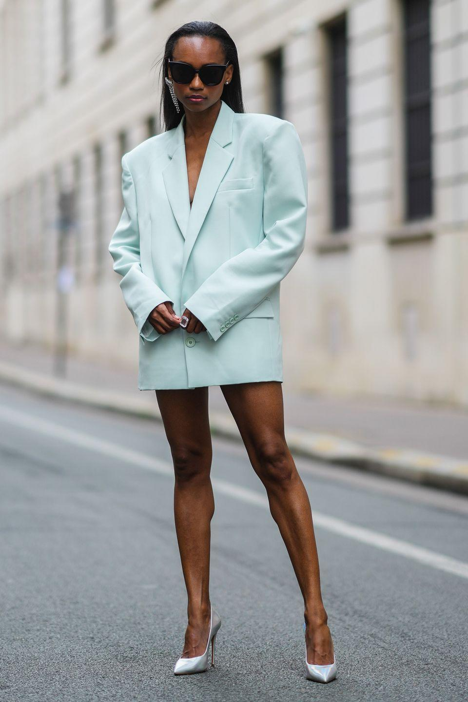 <p>An oversized blazer dress always makes a powerful statement, but especially one in a unique colour like this minty hue.</p>