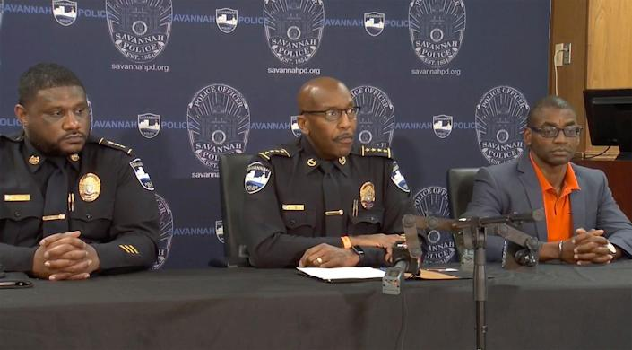 Savannah Police Chief Roy Minter holds a news conference on, June 12, 2021, in Savannah, Ga., after a shooting.