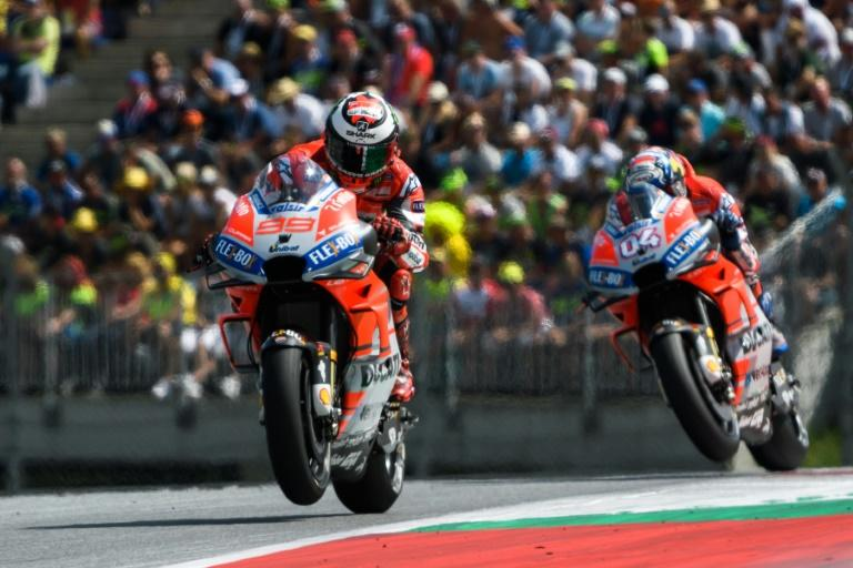 Ducati's Jorge Lorenzo and Andrea Dovizioso finished first and third in the Austrian MotoGP