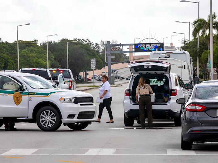 <p>Police block an intersection near the Miami-Dade Kendall Campus in Miami, Fla., on Sunday, June 6, 2021. </p> (AP)