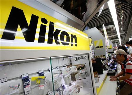 Nikon Corp's logo is pictured at an electronics store in Tokyo