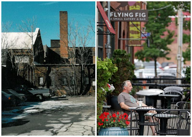 "This combination photo shows, left, an undated photo provided by Great Lakes Brewing showing Cleveland's Ohio City neighborhood in 1988, and right, Paul Nasvytis enjoying his morning coffee at Koffie Cafe across from the Great Lakes Brewing Co., on July 1, 2013, in Cleveland. Great Lakes opened in Cleveland's Ohio City neighborhood in 1988. The downtown neighborhood was ""perceived as dangerous and blighted"" into the 1980s, says Eric Wobser, whoe works for Ohio City Inc., a nonprofit that promotes residential and commercial development while trying to preserve the neighborhood's older buildings. (AP Photo/Great Lakes)"