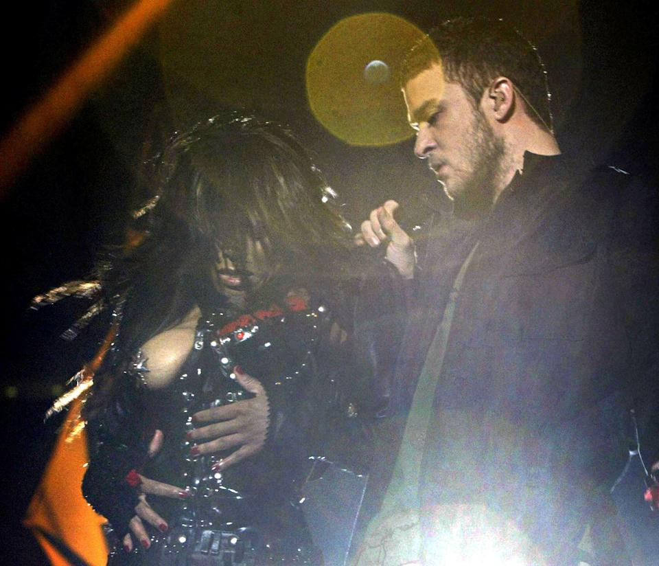 Janet Jackson famously exposed her right breast during the 2004 Super Bowl performance. [Getty]