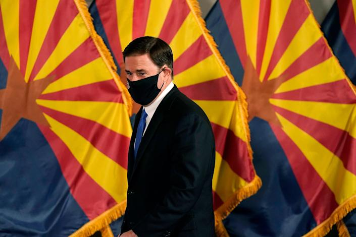 <p>Arizona Governor Doug Ducey — who is a Republican — has been attacked by Trump for standing by the state's results</p> (ASSOCIATED PRESS)