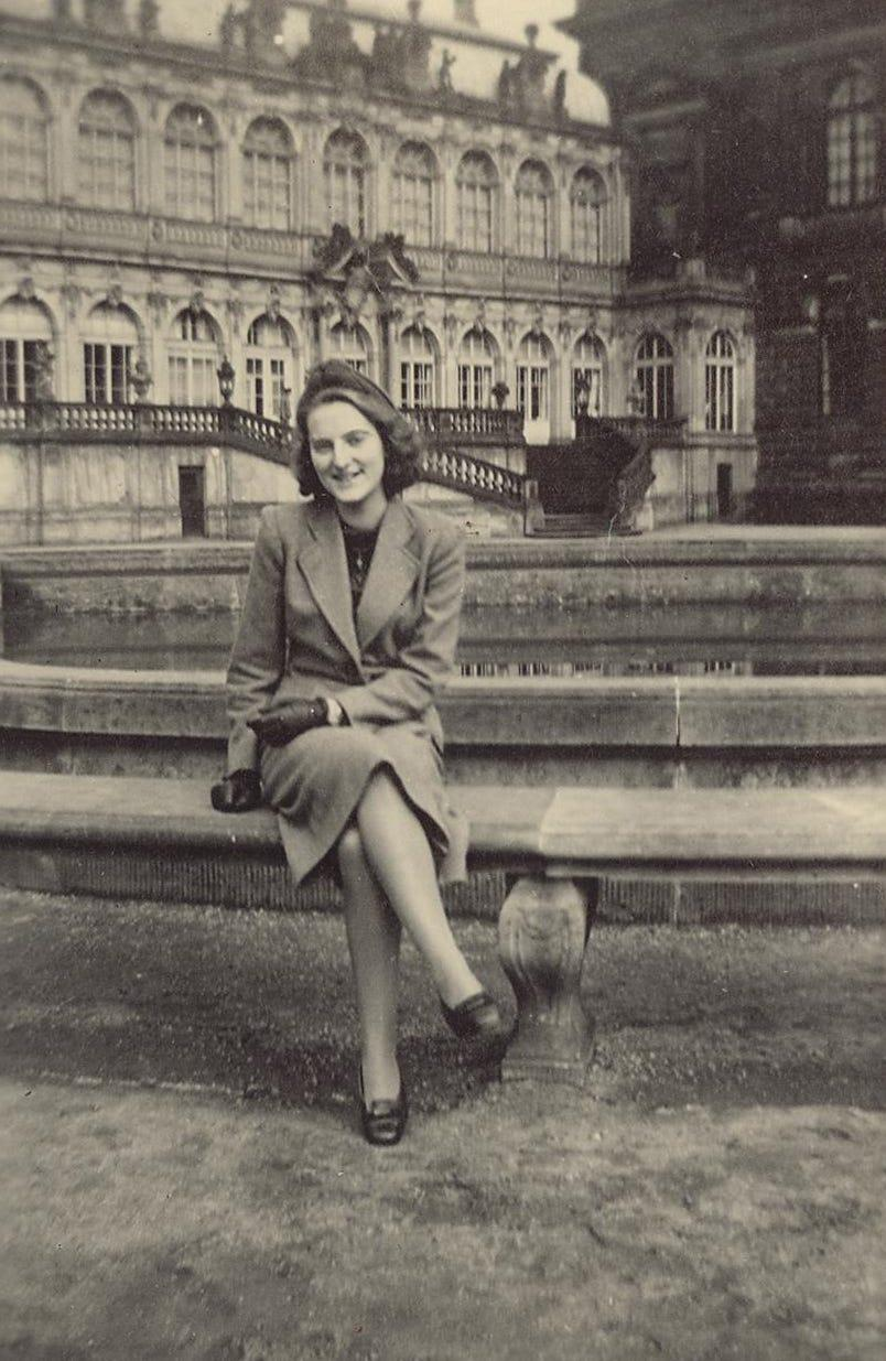"""Henny Wolf at the Dresden """"Zwinger"""" castle, around 1941"""