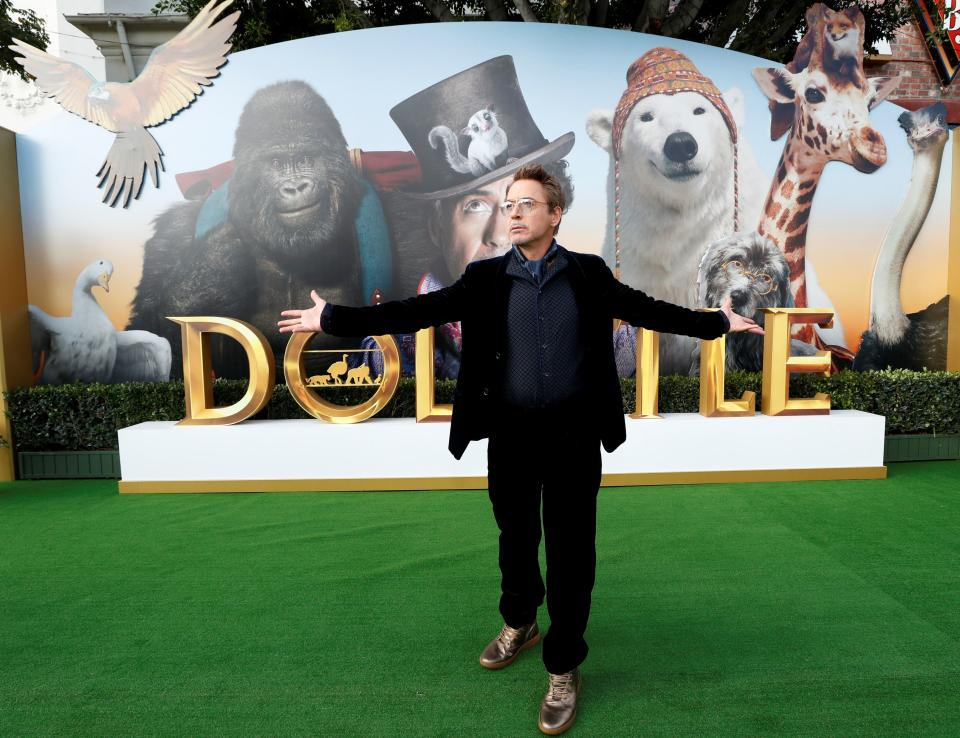 """Cast member Robert Downey Jr. attends the premiere for the film """"Dolittle"""" in Los Angeles, California, U.S., January 11, 2020. REUTERS/Mario Anzuoni"""