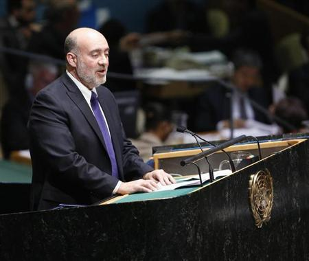Israeli Ambassador to the United Nations Ron Prosor addresses the United Nations General Assembly during a meeting at U.N. Headquarters, in New York
